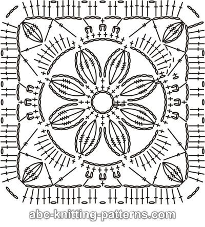 Crochet Pattern Flowers ABC Knitting Patterns - Rainbow Flowers Motif Shawl
