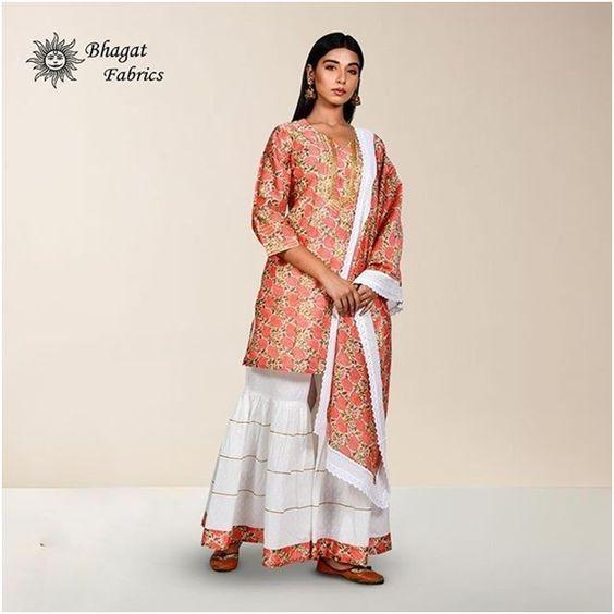 Vibrant colored kurti with broad palazzo- Bhagat Fabric