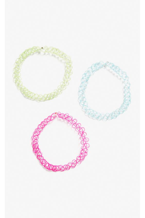 Monki Pack of 3 tattoo chokers in Pink Neon