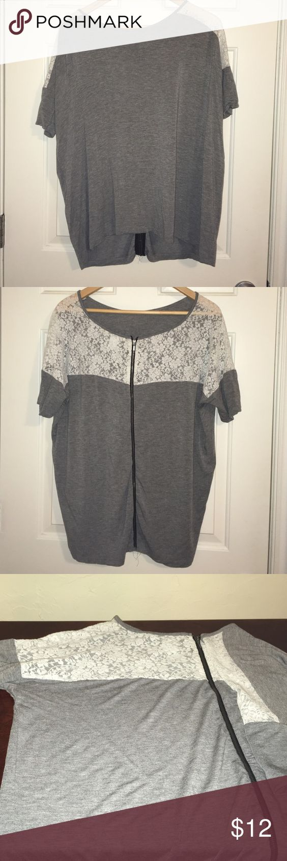 Lace T by Design History Design History brand top purchased at Nordstrom. Super soft gray t-style top with white lace shoulders and upper back. Black zipper up the back. As always, bundle 2 or more items for 10% off! Design History Tops
