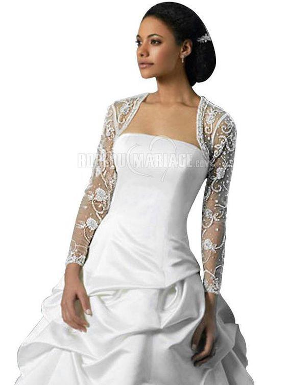 Bolero mariage pas cher manches longues perles prix eur35 for Robe pour mariage cette combinaison collier perle mariage