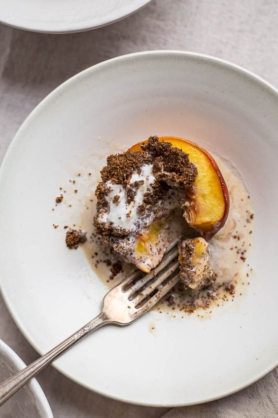 Honey Roasted Peaches with Teff-Crusted Ice Cream (gluten-free, refined sugar-free) | saltedplains.com: