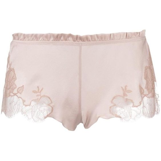 Carine Gilson lace insert boxers (5.045 ARS) ❤ liked on Polyvore featuring intimates, panties, pink, short boxer, underwear lingerie, underwear boxers and carine gilson