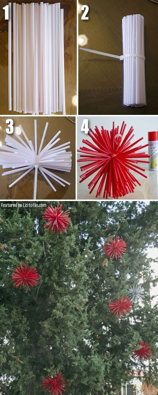 #15. Make extra large ornaments with straws and spray paint. Awesome DIY Christmas decor idea!! -- 29 Cool Spray Paint Ideas That Will Save You A Ton Of Money: