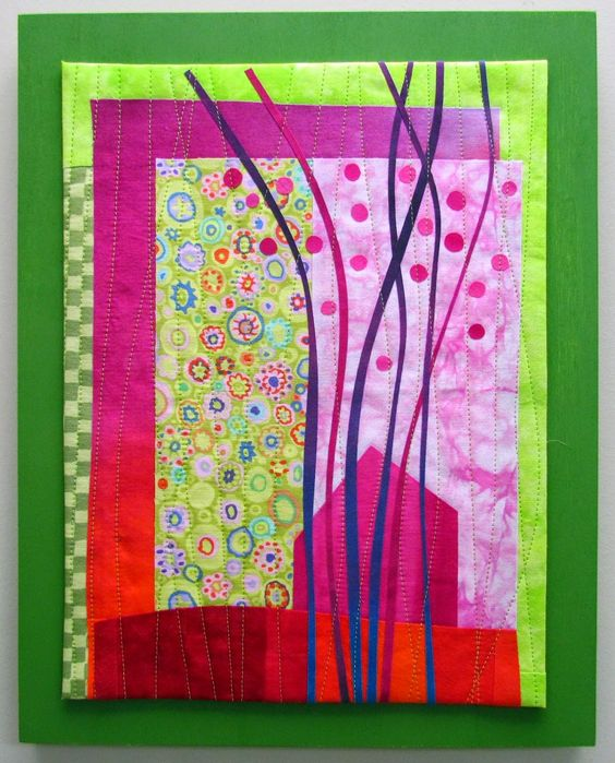 "Windy Ridge Hand dyed cottons, commercial cottons, fused, machine quilted and mounted on painted wood panel. 11x14"":"