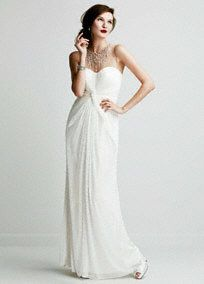 DB Studio Long Mesh Dress with Illusion Beaded Neckline, Style 062891640 #davidsbridal #sparkleandshine #weddingdress: David S Bridal, Long Mesh, Davids Bridal, Wedding Dresses, Wedding Gown, Davidsbridal, Bridal Gowns, Beach Wedding, Illusion Neckline