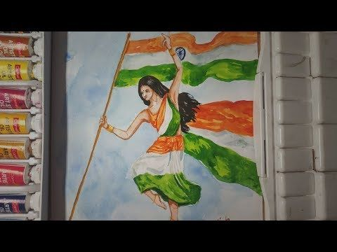Independence Day Drawing In Watercolor 15th August Painting Republic Day Youtube Earth Day Drawing Independence Day Drawing Drawings
