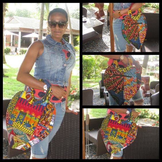 This beautiful and unique OOAK (one-of-a-kind) Havaheart (Have A Heart) Purse is one of our newest bags. She is made with gorgeous African wax print fabrics pieced into beautiful patchwork. She has a zipper pocket on the outside and a small pocket on the inside.  Her dimensions are approximately: 21 1/2 long (including the handle) 15 1/2 wide (at the widest part) and expands to 4 deep when filled.  The inside of the bag is nicely lined with a black plastic lining. The zipper on the top of…