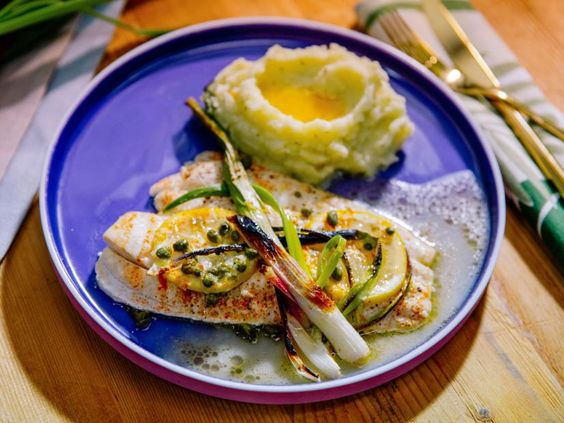 Sunny's Easy Baked Lemon Sole and Spring Onions