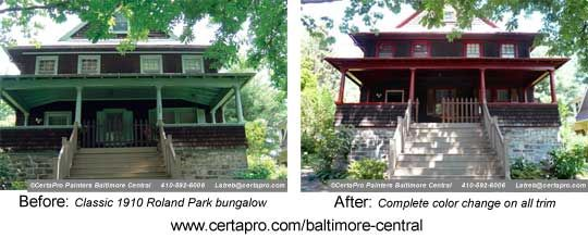 100 year old gets facelift! Complete color change alters the mood of Roland Park classic bungalow. More pictures available at http://bit.ly/AjTQ2j