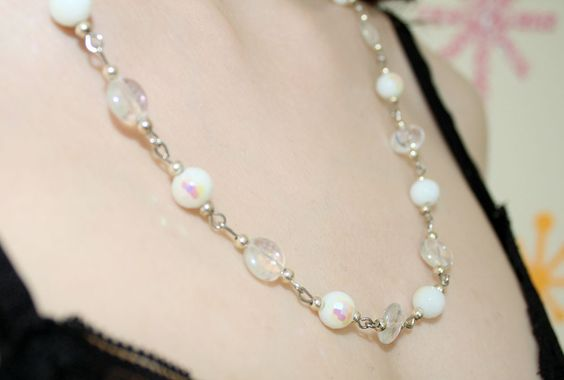 Close up of our Long Beaded Necklace in White Pearl and Crystal!
