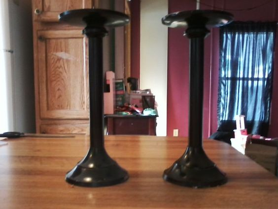 "10.5"" Pillar Candle Holders Black Metal"