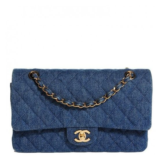 CHANEL Vintage Denim Quilted Medium Double Flap Navy Blue ❤ liked on Polyvore featuring bags, handbags, shoulder bags, chain shoulder bag, blue purse, chanel purses, denim handbags and quilted purse