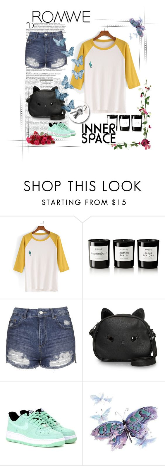 """""""The woods are never solitary — they are full of whispering, beckoning, friendly life."""" by gabirussia ❤ liked on Polyvore featuring Byredo, Topshop, Loungefly, NIKE and Balmain"""