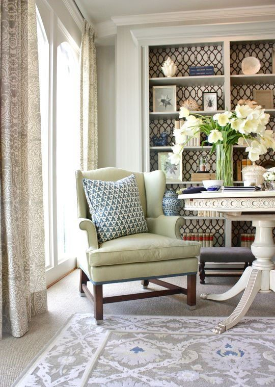Designer Details that Add Interest to a Neutral Room could paint my table a  color and gild feet .small band of color on chair