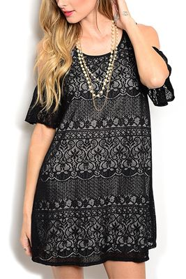 Black Classy Flowy Cold Shoulder Mixed Print Lace Overlay Date Dress With Necklace