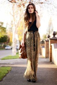 Shop this look - black tee & animal print skirt