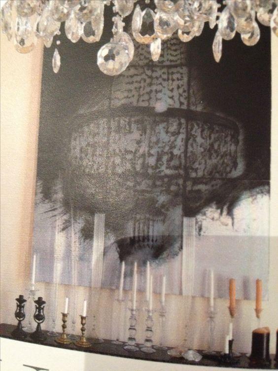Incisione a punta secca su alluminio black&white con candelieri e lampadario a goccia