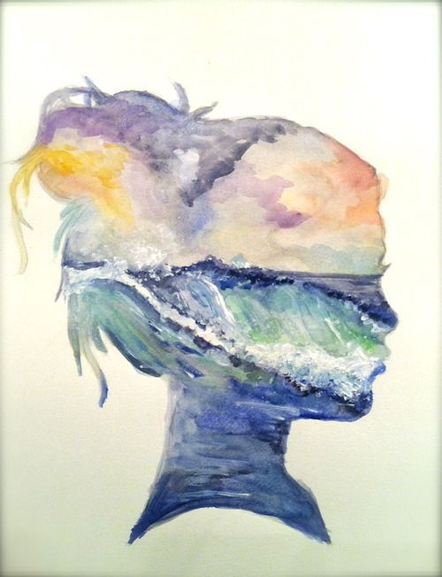 theartof-destruction: painted this today. watercolor 6/24/12. I think for a DIY I could get my profile and use as a stencil over anything, but I definitely love this beach watercolor
