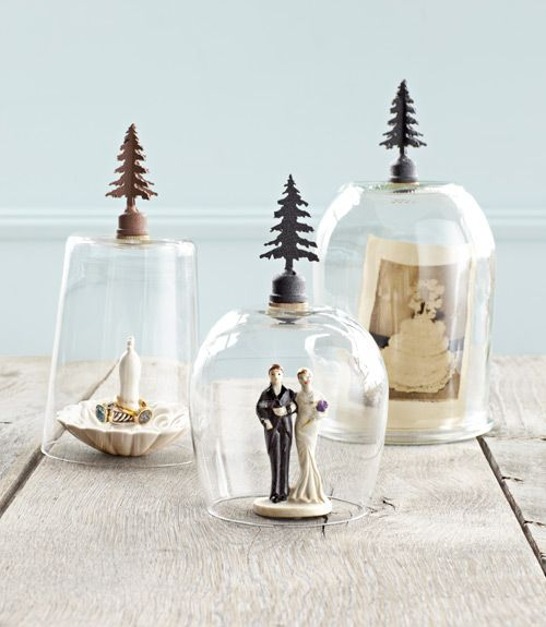 """This cute craft should take seconds to make: Turn glassware upside down, affix iron finials, let dry and voila: instant mini cloches. #crafts #diy"""