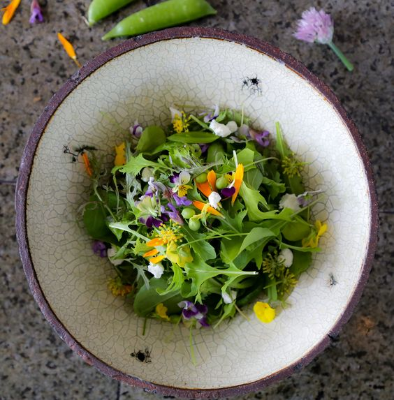 and end up here, in a fresh pea, feta and floral salad