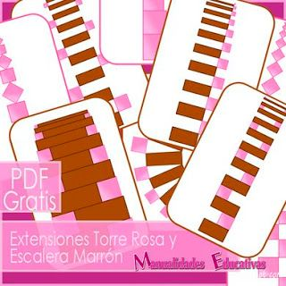 Extensiones Torre Rosa y Escalera Marrón Montessori - IMPRMIBLE GRATIS  Pink Tower and Brown Stair Montessori FREE PRINTABLE Extensions