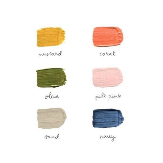 Color Palette Mustard Coral Olive Pale Pink Sand Navy Color Palette Pink Green Colour Palette Color Inspo