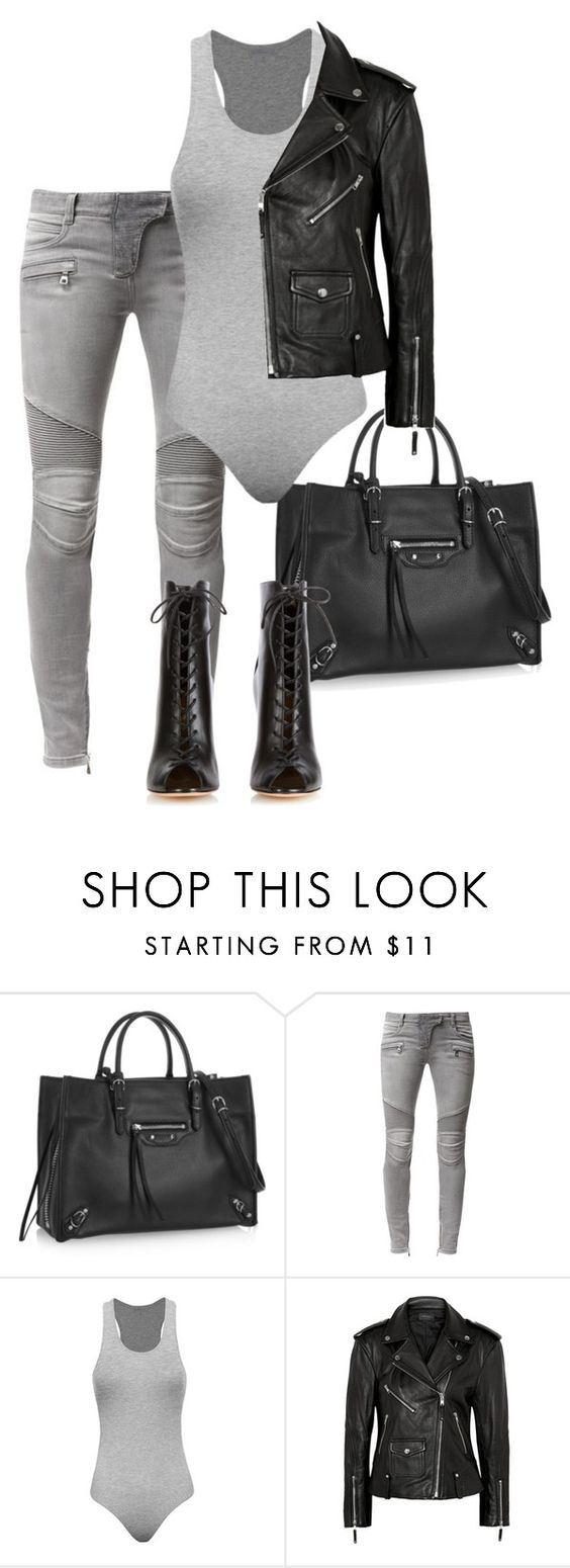 """Untitled #109"" by bfashion91 ❤ liked on Polyvore featuring Balenciaga, Balmain, Theory, Gianvito Rossi and monochrome"