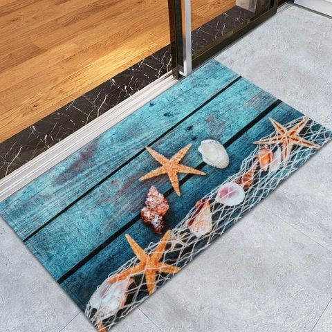 Starfish Shell Large Size Fleece Bath Rug Bath Rug Floor Area Rugs Rugs On Carpet