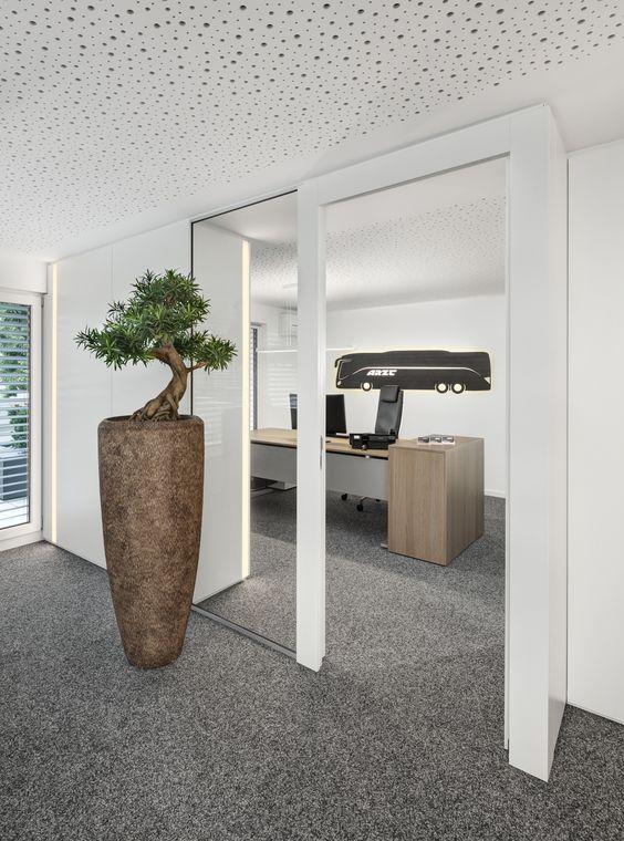 Büroaccessoires, Vase, Akustikdecke, Glas, Schreibtisch, Holz - wandpaneele küche glas