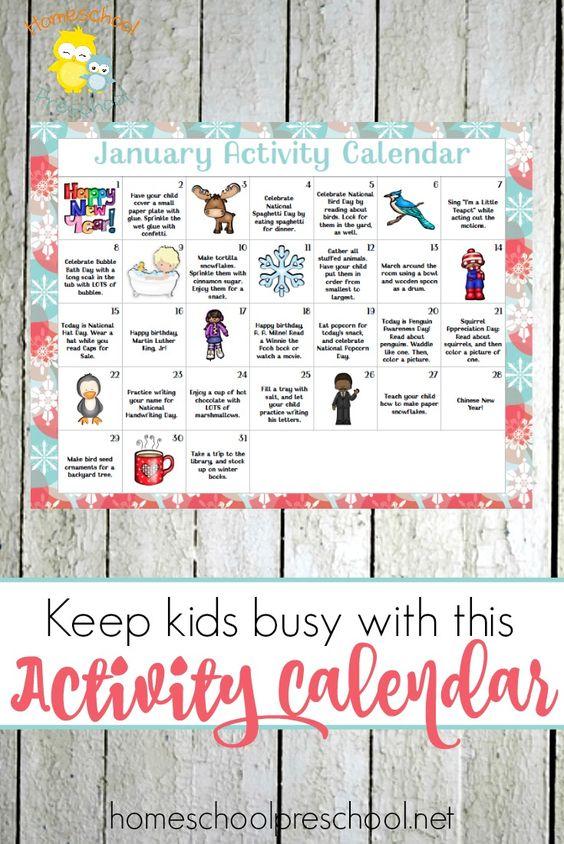 Free Printable January Preschool Activity Calendar Pinterest - activity calendar