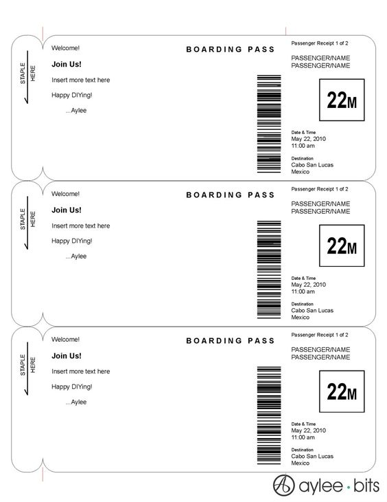 Blank Printable Airplane Boarding Pass Invitations - Coolest Free - fake ticket template