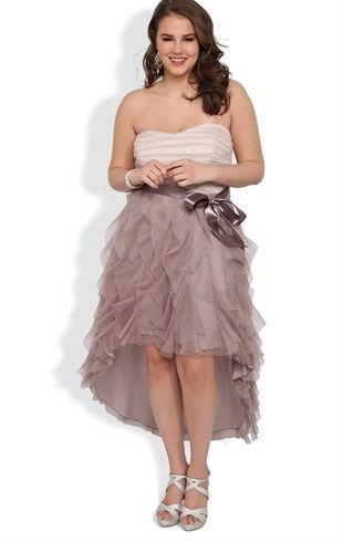 Plus Size Glitter Ruffle High Low Prom Dress with Side Waist Tie