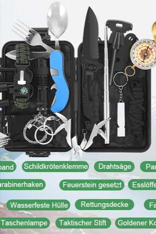 Dies ist ein professionelles 17-in-1-Notfall-Überlebenskit, das Folgendes umfasst: Kompass, Überlebensmesser, Feuerstein-Kit, Taschenlampe, Notfalldecke, Paracord, Werkzeugkarte, Überlebenspfeife, 2 Karabiner, Überleben Armband, Drahtsäge, Schildkrötenklemme, Taschenlampe, Löffelset und wasserdichte Box. Es ist das beste Überlebensinstrument für Camping und Abenteuer im Freien... *Pin enthält Werbelinks