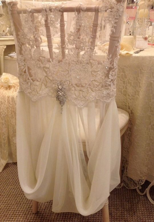 Allyson James Beaded Lace and Chiffon Chair Cover W/Brooch: