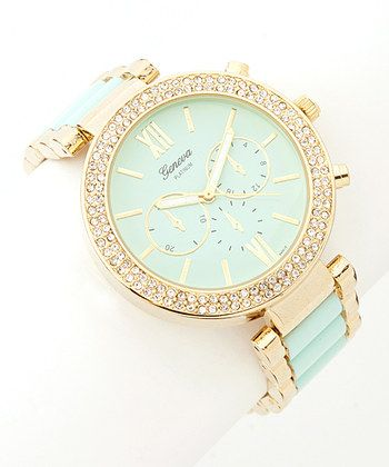 Mint & Gold Rhinestone Boyfriend Watch