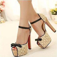 las bombas del alto talón del cordón de las mujeres de las sandalias de los zapatos - EUR € 13.69