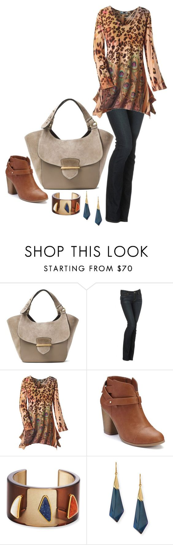 """Suede Bag... MK"" by maryv-1 ❤ liked on Polyvore featuring Michael Kors, Paige Denim, LC Lauren Conrad, Lizzie Fortunato, Alexis Bittar and holdontothatbag"