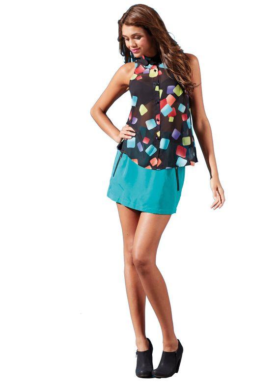 Zip pocket skirt with a sheer chiffon blouse top