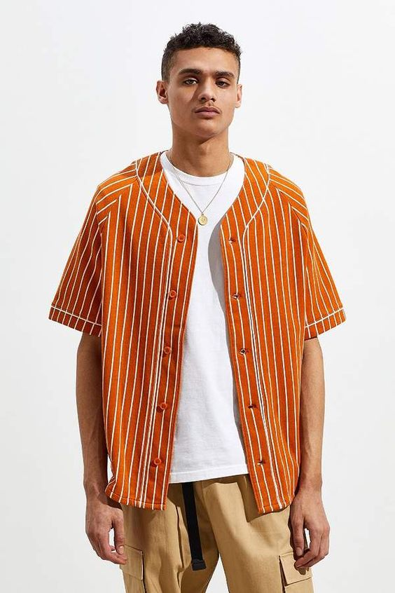 Urban Outfitters French Terry Stripe Baseball Jersey