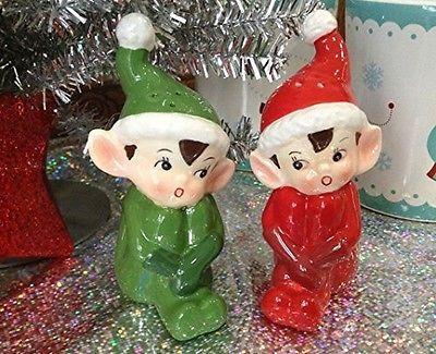 Tinsel Town Vintage Style Retro Christmas Elves Salt & Pepper Shaker…