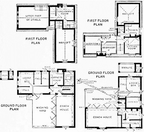 Smaller stables floor plan carriage house coach house Carriage barn plans