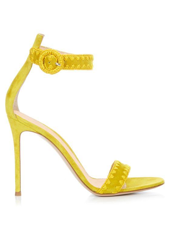 Antigua contrast-stitch #suede #sandals | Gianvito Rossi.
