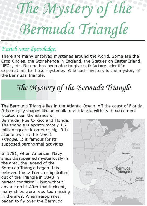 essay on mystery of the bermuda triangle Use the following sample to write your own essay successfully bermuda triangle the bermuda triangles remain a mystery.