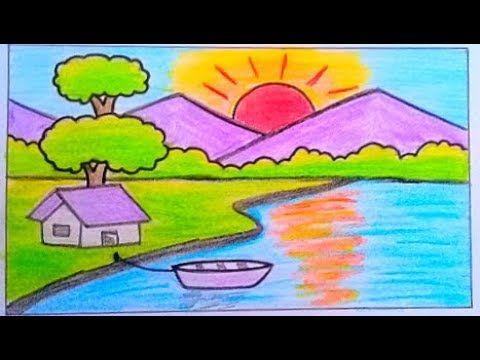 طريقة رسم منظر طبيعي سهل بالرصاص تعليم الرسم للمبتدئين رسم غروب الشمس Youtube Disney Characters Art Fictional Characters