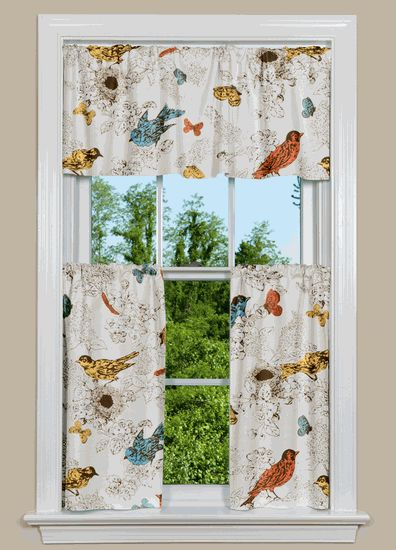 Kitchen Curtains bird kitchen curtains : Thomas Paul Bird Kitchen Curtains. From $126/window | Kitchen ...