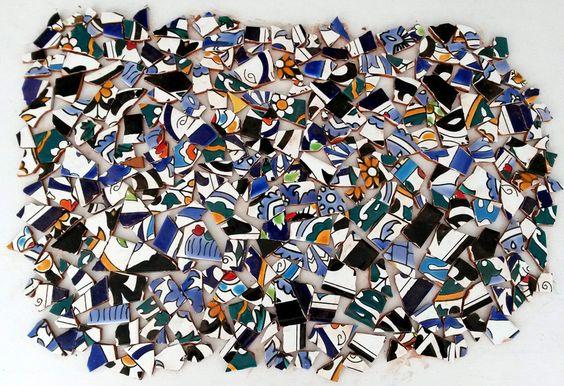 Fliesen & Kacheln - Bunte Bruchfliesen Mosaikfliesen Keramik Steine - ein Designerstück von Terra-Point bei DaWanda