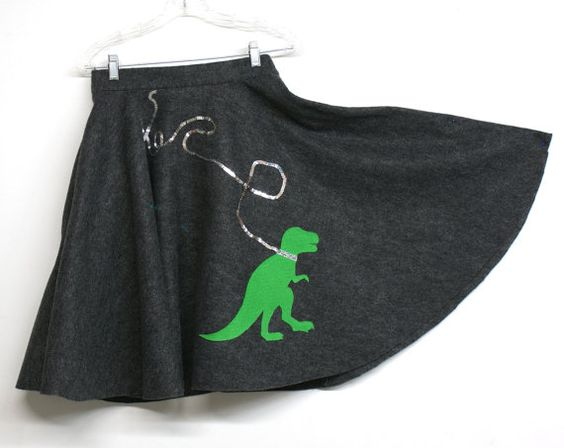 T-Rex Dinosaur Poodle Skirt Charcoal and Green Felt - Made to Order Circle Skirt Halloween Costume