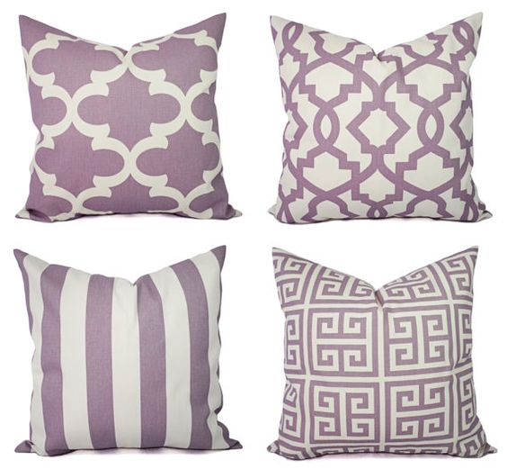 Soft Purple and Beige Pillow Cover - One Throw Pillow Cover - Purple Decorative Pillow Covers ...