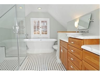 Way to fit a bathroom in with our slanted ceiling for Slanted ceiling bathroom ideas